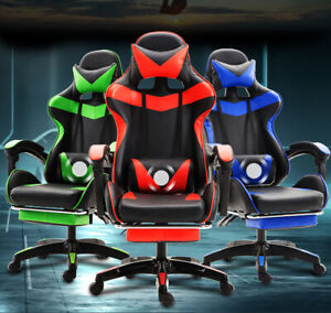 Msq Gaming Chair Office Computer Seating Racing Pu Leather Executive Neck Lumber Ebay