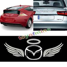 Silver Chrome 3D Angel Car Emblem Decal Badge Sticker Kit Fits Around Car Logo