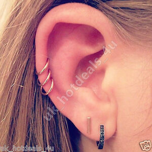 9813cd611 20g Rose Gold Cartilage Earring Rook Helix Hoop Tragus Ring Nose ...