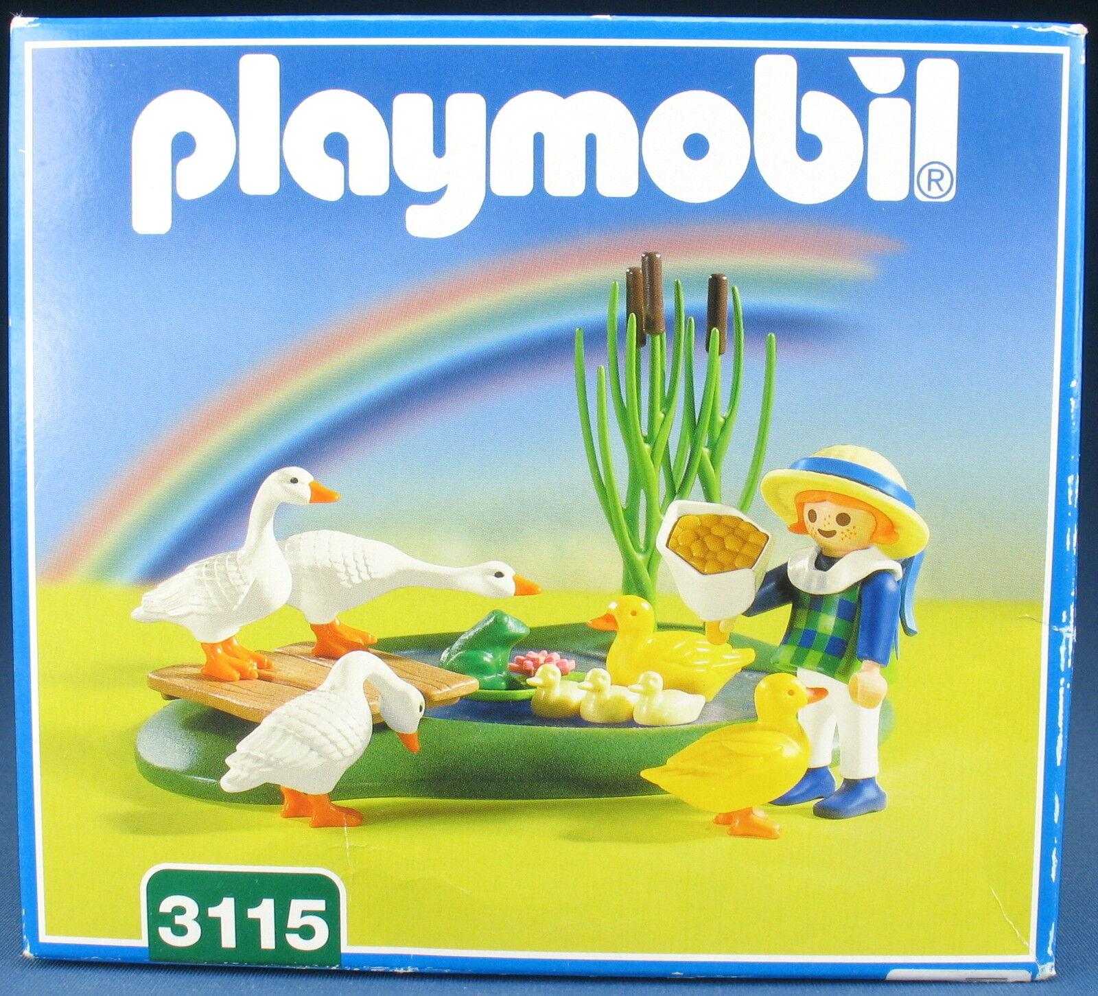 PLAYMOBIL 3115 - Mädchen mit Teich und und und Gänsen - 2001 - NEU & OVP - New MISB 30b404