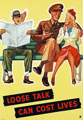 Loose Talk Can Cost Lives Closed War Vintage Art Print Poster A1 A2 A3 A4 A5