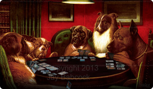 autographed Dogs Playing Magic vinyl game mat