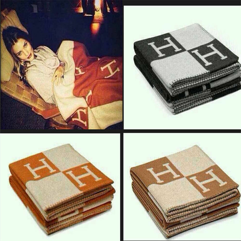 H-Blanket wool Cashmere Throw Plaid Blankets Sofa Car Travel 140165cm Brand New