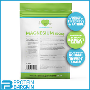 Healthy Supplements Magnesium Tablets (90 x500mg MgO) Reduces Tiredness/ Fatigue