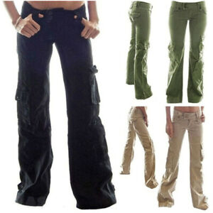 Womens Lady Loose Cargo Denim Jeans Casual Wide Leg Slouch Combat Pants Trousers