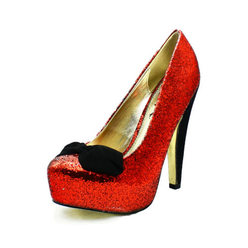 Black glittery round toe high heel party shoes with velvet bow