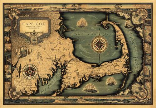 Historical Map Cape Cod Massachusetts Vintage Wall Art Poster Decor Vintage