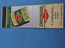 GREENZOIL MOTOR OIL F BULLIEGH OIL CO WICHITA KS MATCHBOOK OLD CAN COLLECT OR