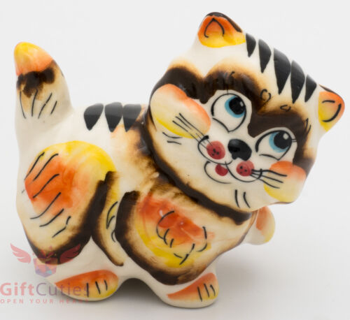 Playful cat kitty Collectible Gzhel style Porcelain Figurine hand-painted