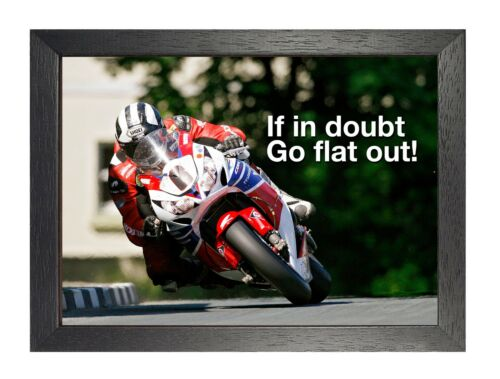 Isle of man TT 3 If In Doubt Go Flat Out Motivation Poster Motorcycle Sport Race