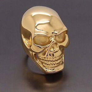 mens heavy gold skull 316l stainless steel biker ring