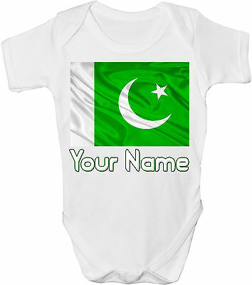GRO //BODYSUIT  **GREAT GIFT /& NAMED TOO** PAKISTAN FLAG PERSONALISED BABY VEST