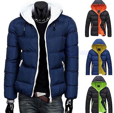 Fashion Men's Winter Hooded Thick Padded Jacket Zipper Slim Outwear Coat Warm