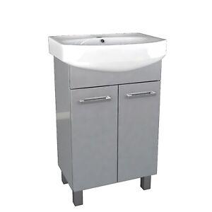 Waschbecken mit Unterschrank Waschtisch Badmöbel Set Badezimmer Grau 3 Breite