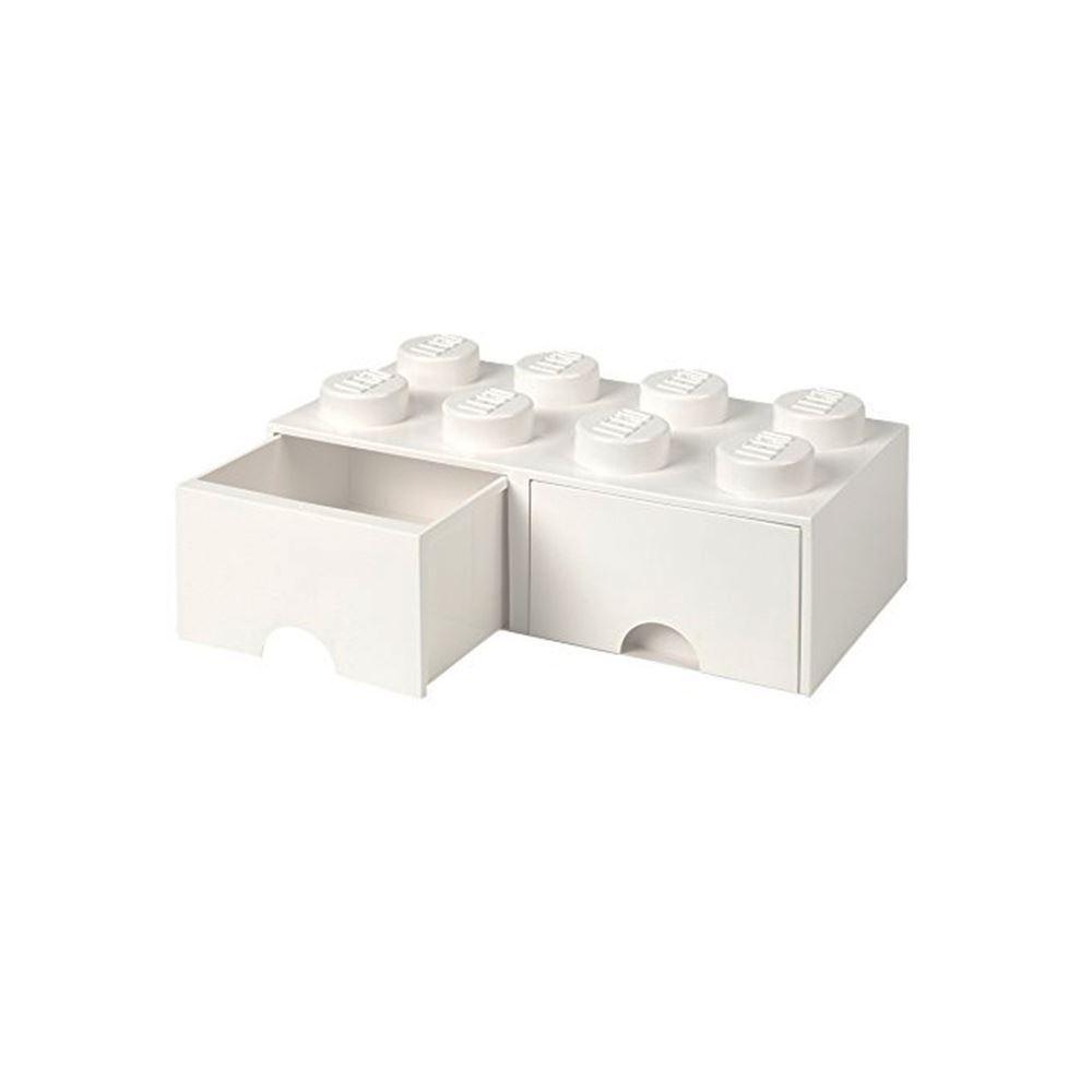 Brique Lego Boite de Rangement 8 avec 2 Tiroirs Empilable Blocs Enfants - Blanc