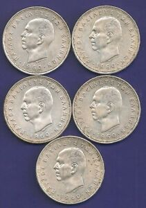 Greece 20 Drachme 1960 Silver Lot Of 5