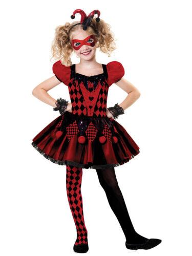 Teen Girls Harlequin Honey Jester Clown Halloween Fancy Dress Costume 6-14 Years