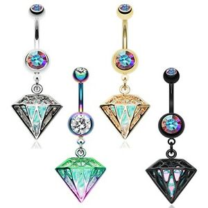 Details About Golden Urban Iridescent Gem Belly Ring Clear Cz Navel Rainbow Black Ab Sexy Fun