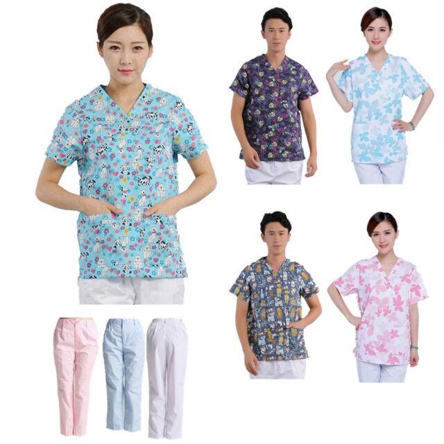 Men Women Medical Hospital Nursing Clinic Printed Scrub Uniform Tops / Pants New