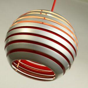Pendel-Leuchte-Lamellen-Kugel-Haenge-Lampe-Stahl-Orange-Silber-Ball-Pendant-70er