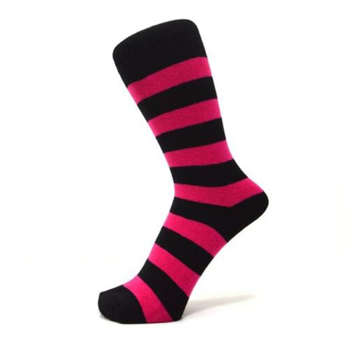 Size: 4-7 Black And Fuchsia Pink Thick Striped Ankle Socks
