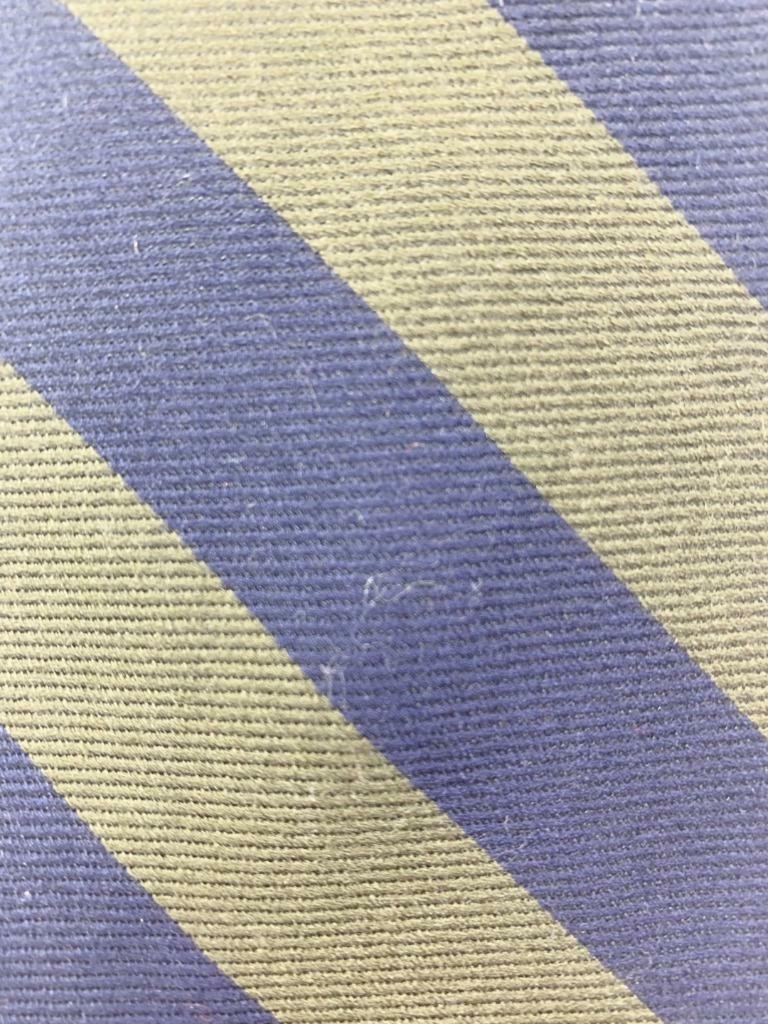 Lands' End Dark Blue OLIVEDRAB Stripe Wool Silk Necktie MJN1520A #E04