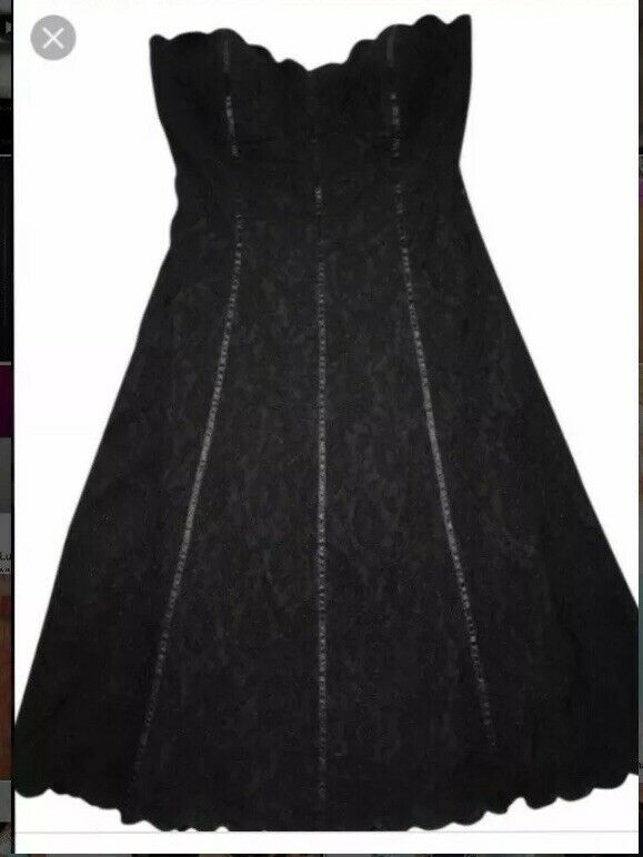Weiß house schwarz market dress Lace 0 Scalloped Strapless XS Padded