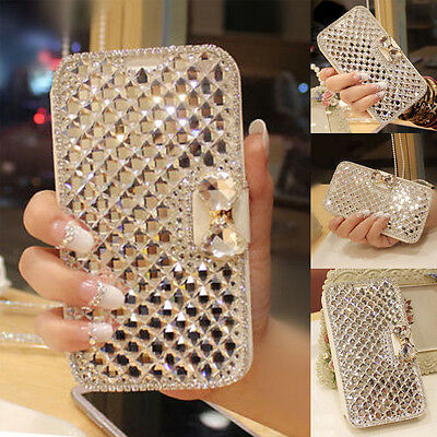 Crystal Diamond PU Leather Wallet Flip Case Cover for Samsung Galaxy S4/I9500