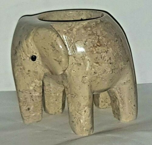 gift, New British fossils marble cream fancy elephant tea light candle holder