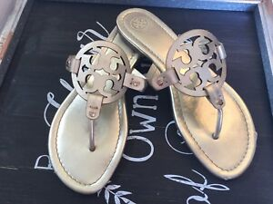 cd2defb983aeff  198 Tory Burch Miller 2 Thong Sandals Metallic Spark Gold Leather ...