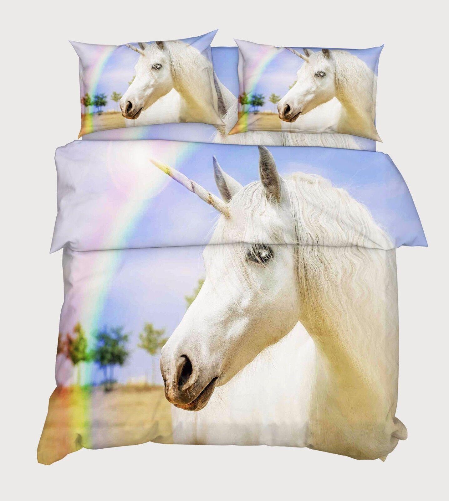 3D Weiß Unicorn 876 Bed Pillowcases Quilt Duvet Cover Set Single Queen UK Kyra