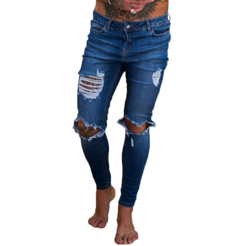 Long Slim Destroyed Stretchy Ripped Skinny Biker Jeans Mens Taped Fit Denim Pant
