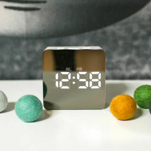 Mirror LED Alarm Clock Multifunction Digital Temperature Snooze Clock Home Decor