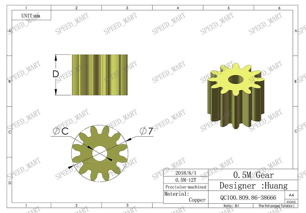 0.5M12T 2mm 3mm Bore Hole 12 Tooth Width 5mm Module 0.5 Motor  Metal Spur Gear