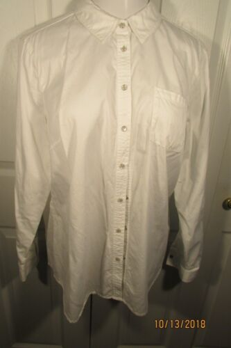 Orvis Blouse, Large, White, Cotton, collar, snap f