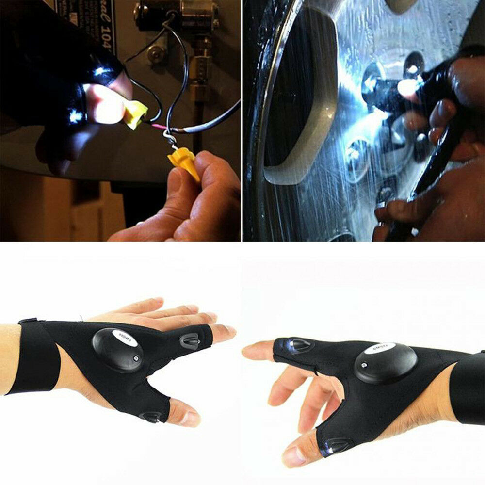 Outdoor Fishing Magic Strap Fingerless Glove LED Flashlight Torch Cover Survival
