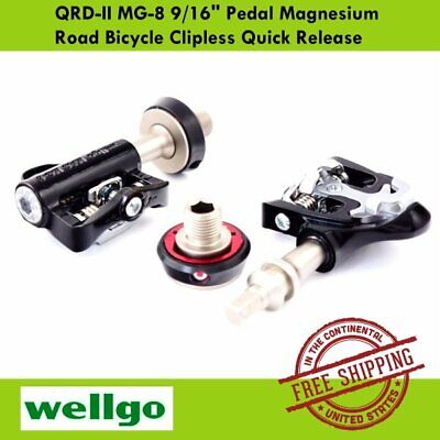 "Wellgo QRD-II MG-8 Magnesium Road Bicycle Clipless Quick Release 9//16/"" Pedal"