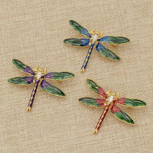 Enamel Rhinestone Dragonfly Brooch Lapel Pin Women Girl Party Jewelry Gift