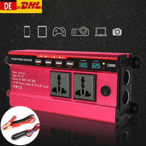 Auto Wechselrichter DC 12V AC 200V-240V Spannungswandler 1500W Inverter 4 USD DE