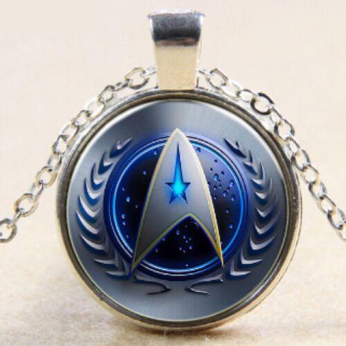 "Star Trek Round 1/"" DIA Pendant Silver Tone Chain Necklace Blue Logo Link Chain"