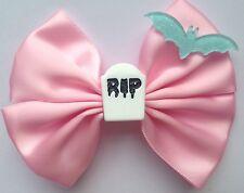 Creepy Cute Hair Bow Rip Pastel Goth Pink Bat Tombstone Gothic