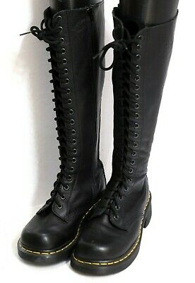 Dr. Martens Jemma Black Leather Lace Up Air Wair Knee High Boots Women's sz. 9 | eBay