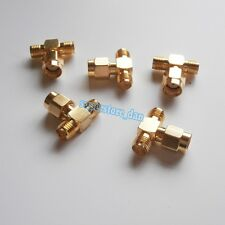 1X RP-SMA male to two RP-SMA female triple T in series Tee RF adapter connector