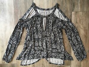 84984b51ec7ec2 Free People Good Morning Cold Shoulder Beaded Top Tunic Keyhole Sz M ...