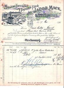 Jacob-Mack-Neustadt-a-Haardt-hist-Rechnung-1900-Pfalz-Nahrung-Nudeln-Weinstrasse