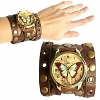 Wristwatch - Women's Quartz Watch - Broad Leather Band - Vintage Butterfly