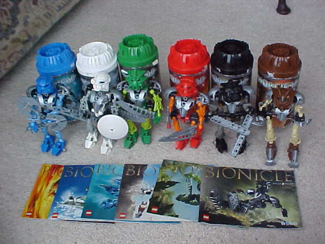 Lego Bionicles TOA NUVA 8566 - 8572 100% Complete figures + Box &instructions