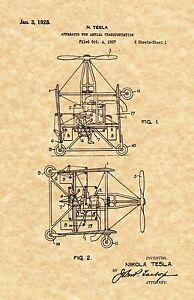 Official Nikola Tesla Electrical Tower US Patent Art Print Vintage 1914-58
