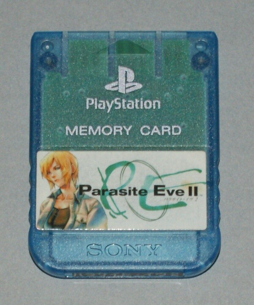 Clear Blue Official PS1 Memory Card - Sony PlayStation SCPH-1020 Parasite Eve II