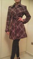 Womens Winter Vintage Tweed Trench Coat Jacket Wool Ladies Size M Purple BSB